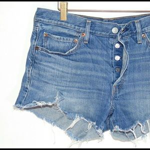 Levi's High Rise Distressed Denim Short